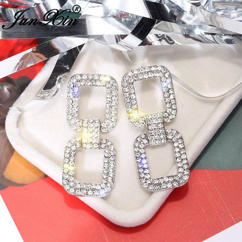 JUNXIN Punk Geometry Long Tassel Drop Earrings For Women White Gold Rose Gold Filled Big Wedding Earrings White Crystal Jewelry