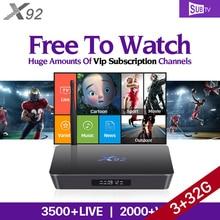 Europa Árabe IPTV Caja 3 GB X92 Inteligente Android 6.0 TV Box Amlogic S912 Subtv Suscripción IPTV Francés Sueco Turco IPTV Top Box