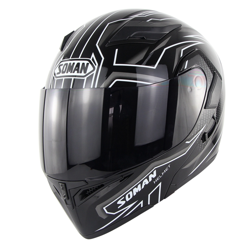 SOMAN Brand Motorcycle Full Flip up Helmets Motocross Racing Double Lens DOT Quality Head Protection Headgear Removable LinnerSOMAN Brand Motorcycle Full Flip up Helmets Motocross Racing Double Lens DOT Quality Head Protection Headgear Removable Linner