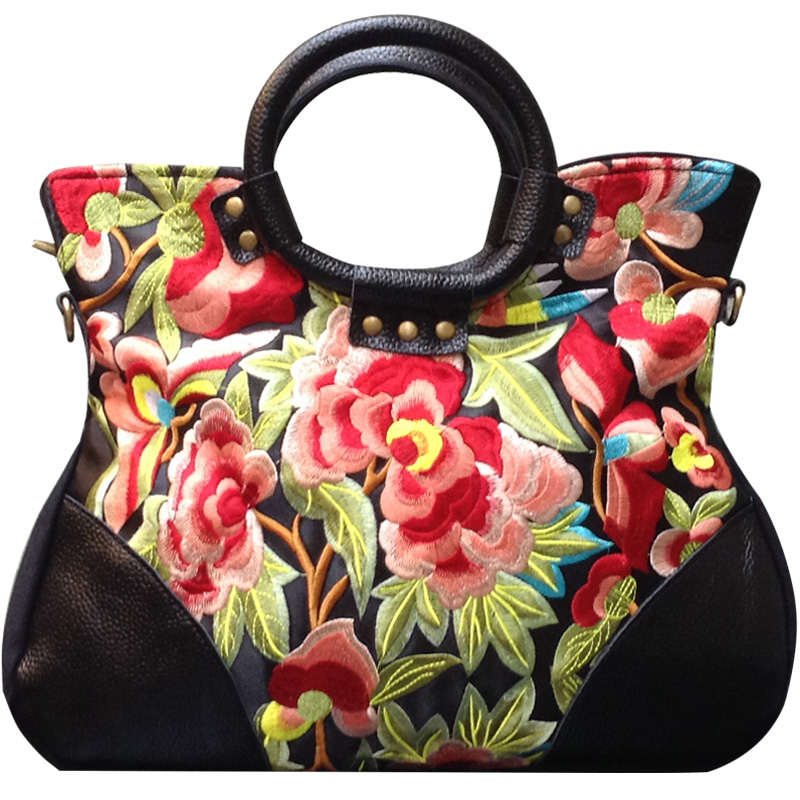 2017 new canvas patchwork embroidered leather woman handbag,  national characteristics  shoulder bag women's fashion leisure bag 2016 summer mix color cloth art shoulder woman bag leisure packages exclusively for export national bag