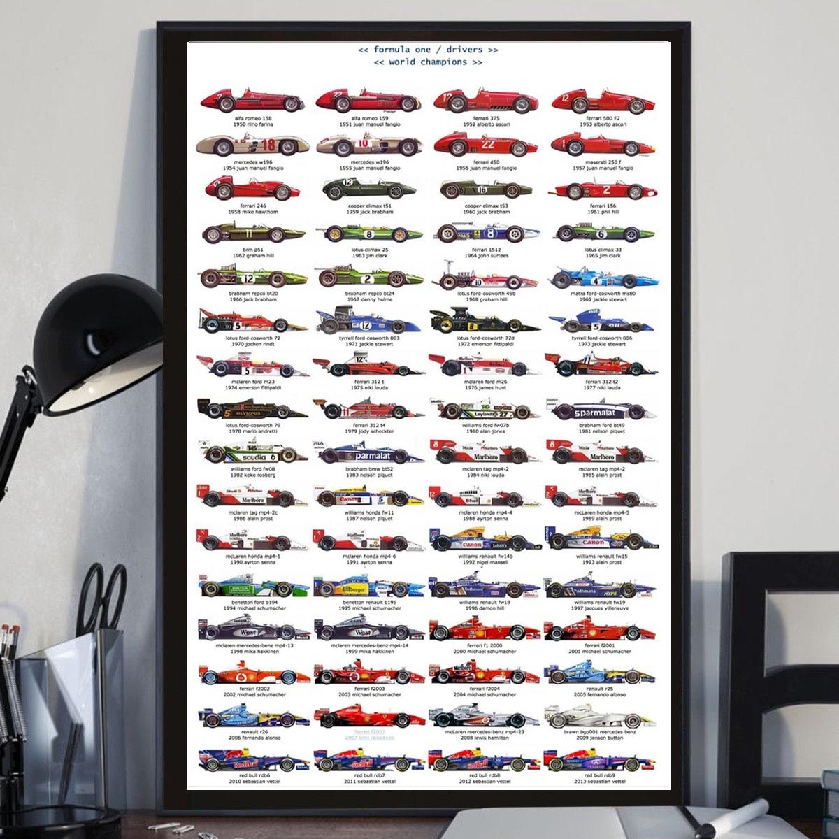 Canvas Painting Poster-Art Wall-Pictures Championship Ayrton Senna Racing-Car Formula-1