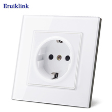 Eruiklink EU Standard Power Socket, White Crystal Glass Panel, AC 110~250V 16A Wall Socket