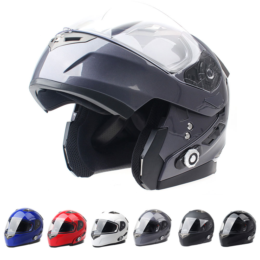 2017 Brand Smart Bluetooth Motorcycle Helmet Built in Intercom System Dot Standard Helmet 3 Riders BT