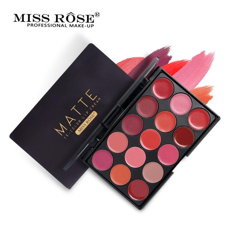 Miss Rose 15 Cores Mate Paleta de Batom Lábios Nutritivos Batom Marca de Maquiagem de Longa Duração À Prova D' Água