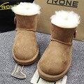 Теплый Импортированы Австралия Овчины Кожаные Меховые Сапоги Детей Снега Сапоги Для Мальчиков Девочек Зимние Повседневная Прогулки Школы Snowboots