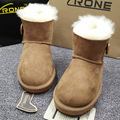 Warm Imported Australia Sheepskin Leather Fur Boots Children Snow Boots For Boys Girls Winter Casual Walking Schools Snowboots
