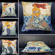 цены Blue Marine Style Mermaid Painting Pattern 45x45cm Coffee House Chair Waist Decorative Cushion Cover Bedroom Throw Pillowcase