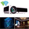 Frete Grátis Mais Novo! Brightest 3000 lumens Build-in Android 4.4 Wi-fi Projetor Full HD Android LED96 + W projector De Vídeo Digital 3D