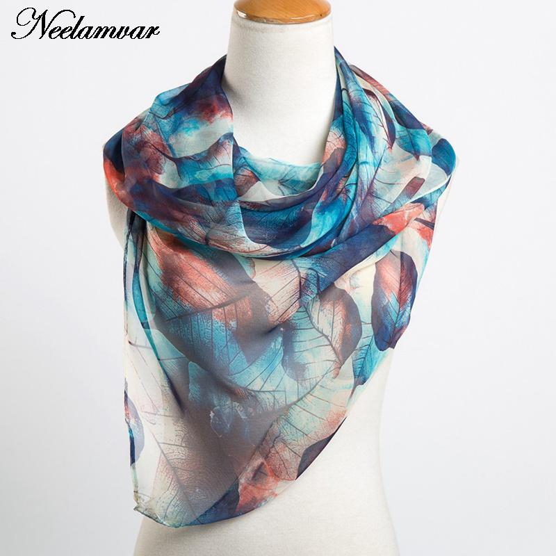 Neelamvar fashion leaves printing long georgette scarf women silk scarves new 2019 Autumn Winter girls shawl echarpe from india