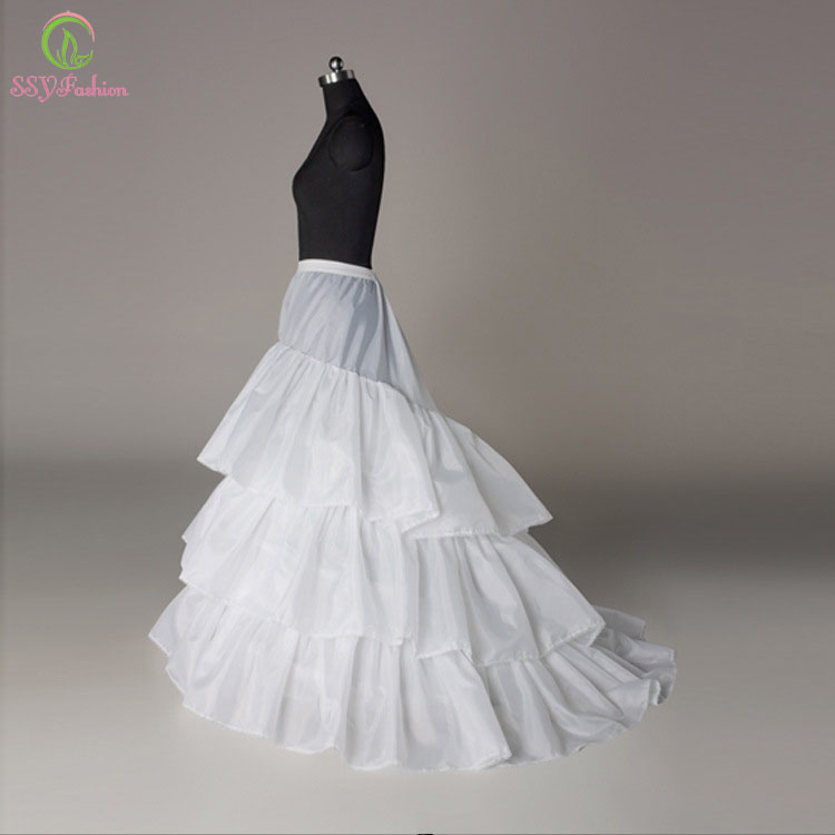 SSYFashion Wholesale The Bridal Petticoat Three Circles Sweep Train Underskirt Petticoat For Wedding Dress Lining Accessories