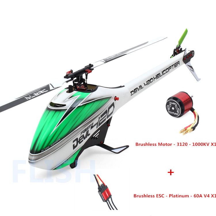 ALZRC - Devil 420 Helicopter 420 FAST FBL Combo (Included 60A-V4 Brushless ESC and BL3120 Motor )- Black - Standard  17H420-PB-C alzrc devil 500 pro sdc dfc brushless esc motor carbon fiber structure 3300mah battery flybarless gyro system rc helicopter kit