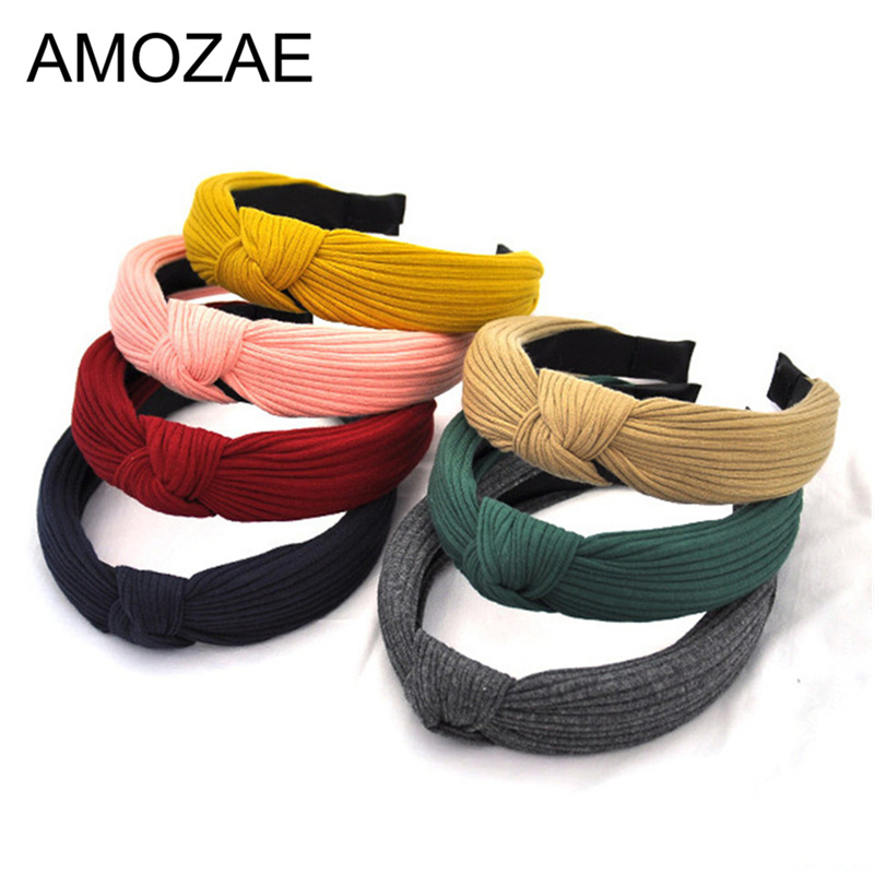 Women Hairbands 2019 New Fashion Girls Vintage Knitting Twisted Knotted Headband Head Hoop Wide Hair Bands   Headwear   Accessories