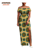 2018 AFRIPRIDE private custom african clothing autumn dress short sleeve maxi batik side opening party dress for women A722538