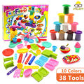 38 Tools 10 Colors Playdough Toys, Fast Food Center Colour Clay Game, Develop Children's Imagination Creativity, Ideal Education