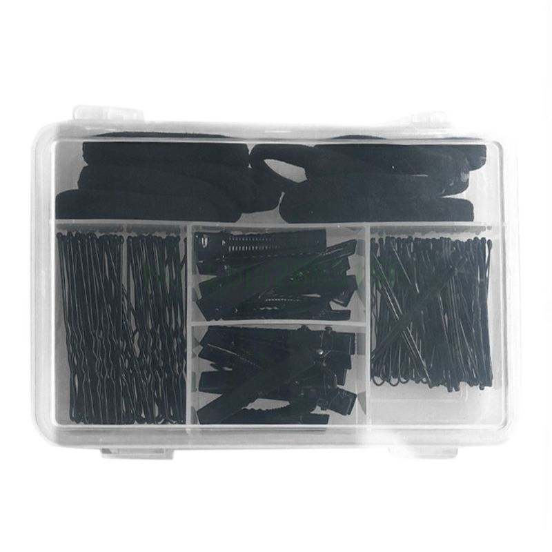 40Pcs U Shape Barrette 40Pcs Pins 20Pcs Duckbill Clips 10Pcs Elastic Band Makeup Black Invisible Hair Styling Accessory
