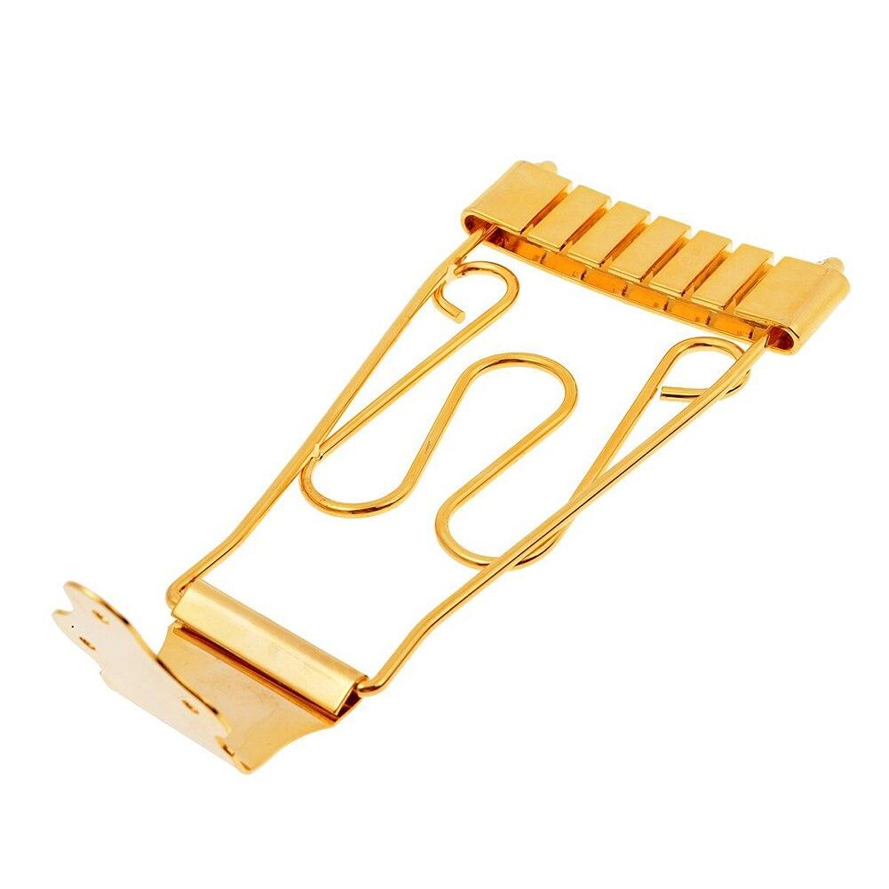 2Pcs Electric Bass Guitar Trapeze Tailpiece Bridge For 6 String Archtop Guitar Parts (Gold ) 2pcs new chrome wraparound bridge tailpiece for 4 string bass replacement