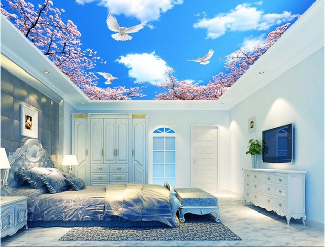 Wdbh custom 3d ceiling murals wallpaper blue sky cloud for Ceiling mural wallpaper