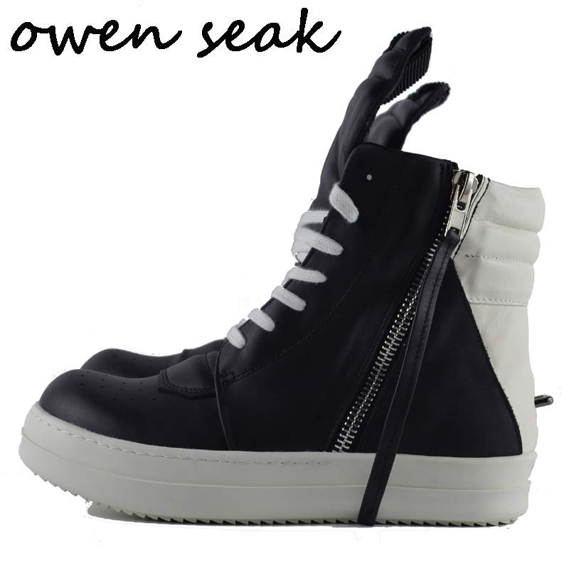 Owen Seak Men Shoes High Ankle Luxury Trainers Rivet Cow Leather Winter Boots Lace Up Casual