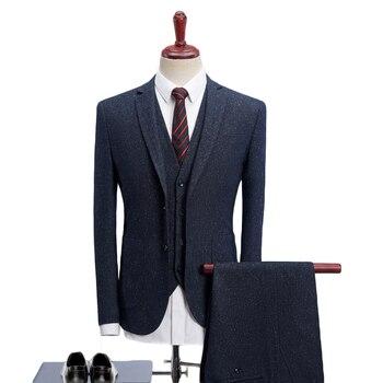 2019 Men Suits For Wedding Slim Fit 3 Piece Mens Dress Suits Fashion Brand Male Woolen Suit Jacket Pants Vest