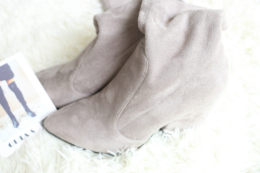Women Hoof Heels Winter Shoes Pointed Toe Sexy Elastic Fabric Boots 46