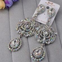 Charmcci Elegent Evening Dinner Party Wedding Jewelry Luxury Long Crystal Big Drop Dangle Earrings For women