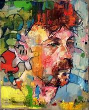 Knife painting man Face Oil Impasto canvas portrait Palette knife red Hand painted