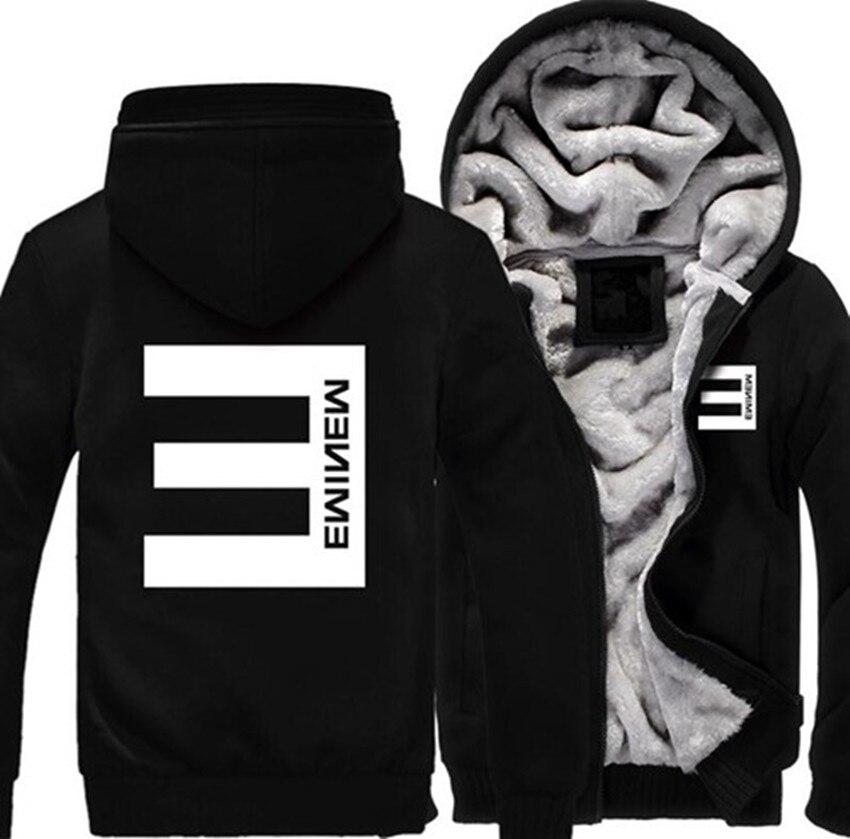 New USA size font b Men b font Women hip hop Eminem Zipper Jacket Sweatshirts Thicken