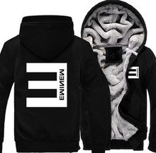 New USA size font b Men b font Women hip hop Eminem Zipper Jacket Sweatshirts Thicken