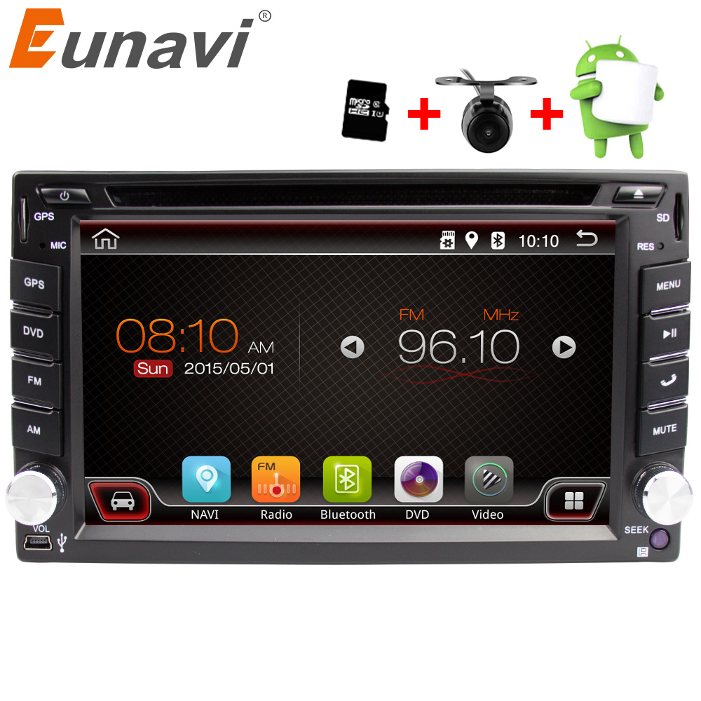 Eunavi Universal 2 Din Android 6.0 Car Dvd Player GPS+wifi+bluetooth+radio+quad Core+ddr3+Capacitive Touch Screen+car Pc+stereo android 5 1 car radio double din stereo quad core gps navi wifi bluetooth rds sd usb subwoofer obd2 3g 4g apple play mirror link