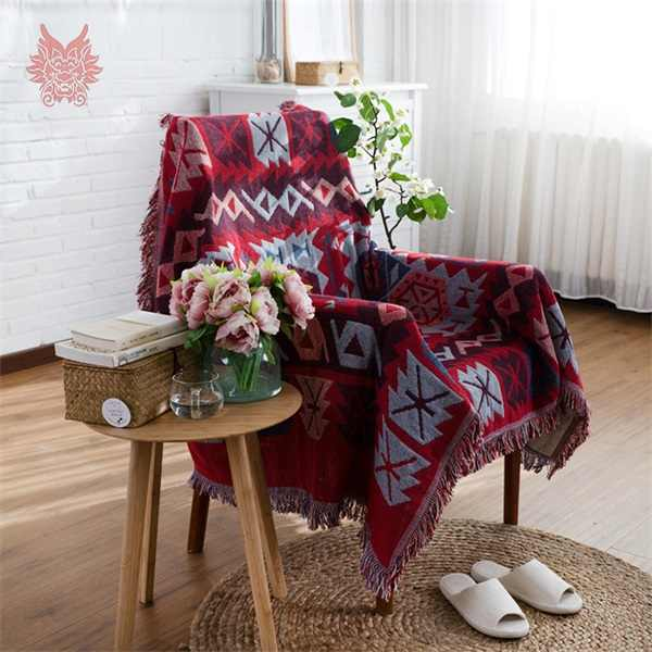 Red Cotton/poly sofá cobrir sofá toalha Americano clássico malha sofá/cadeira cobertor duplex slip-resistente do vintage sofá coverSP2190