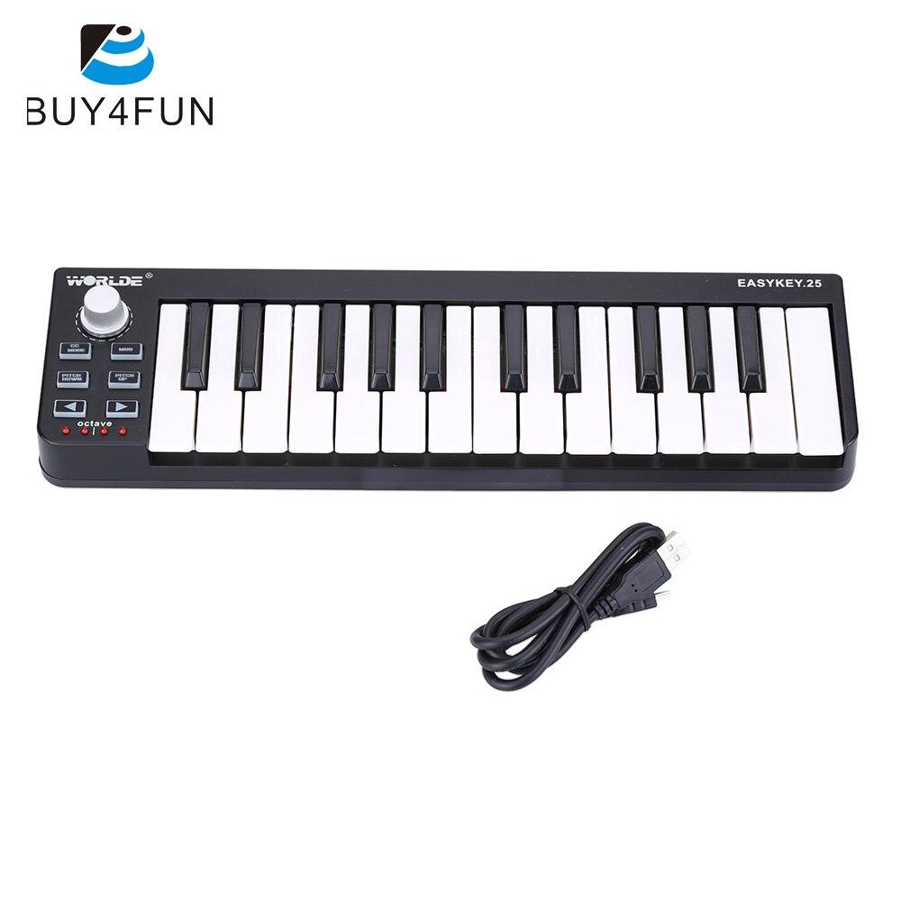 Fácil clave 25 teclado portátil Mini 25-llave USB controlador MIDI órgano electrónico Accesorios