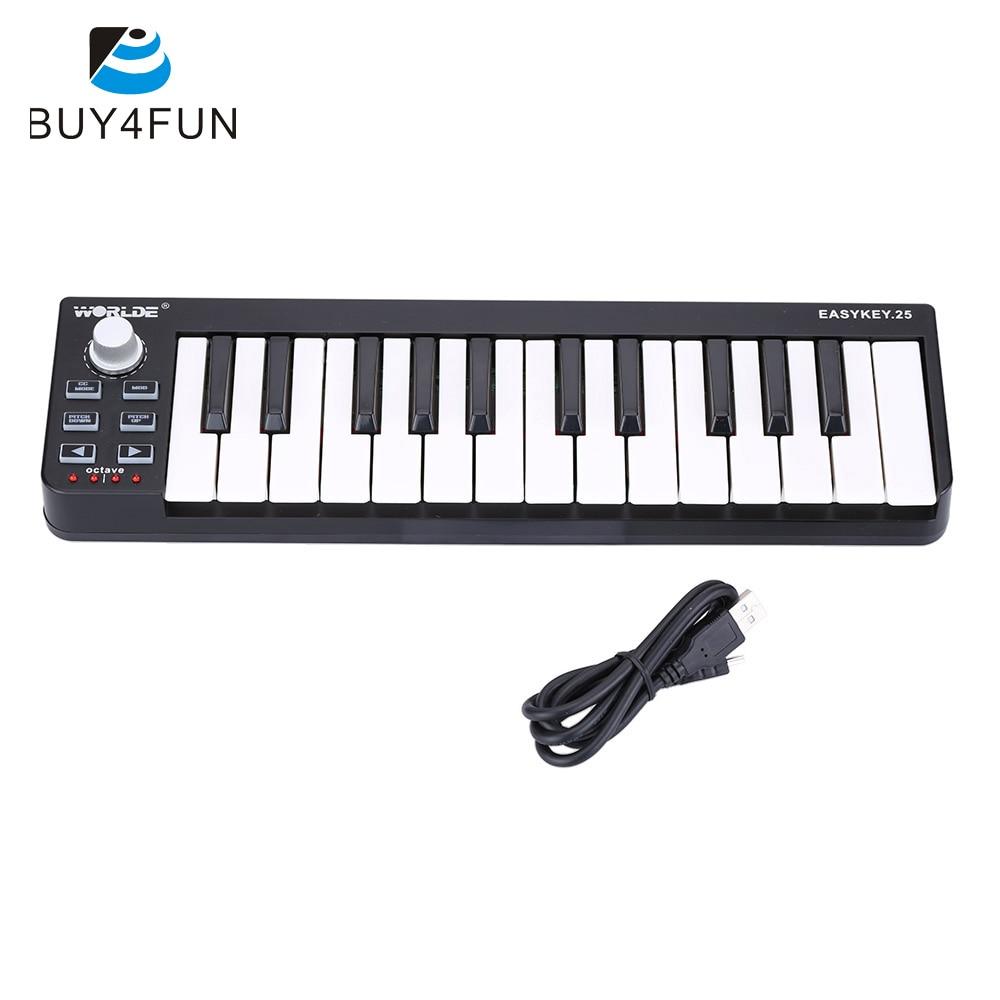 Fácil llave 25 teclado portátil Mini 25 teclas USB MIDI controlador accesorios de órgano electrónico