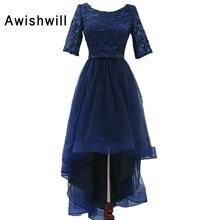 06ccc3779 Nueva moda 2018 azul marino vestido de fiesta alto bajo con 1 2 mangas  Encaje tulle prom vestido de fiesta largo delantero corto.