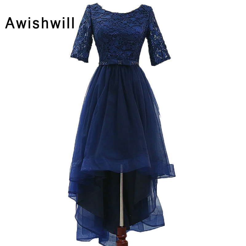 Nouvelle mode 2019 bleu marine robe de bal haut bas avec 1/2 manches dentelle Tulle robe de bal courte avant longues dos robes de soirée