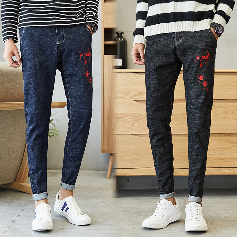 New Spring And Autumn Mens Embroidery Flowers Jeans Leisure Fashion Mens Black Pencil Pants Trousers Denim Pants Streetwear