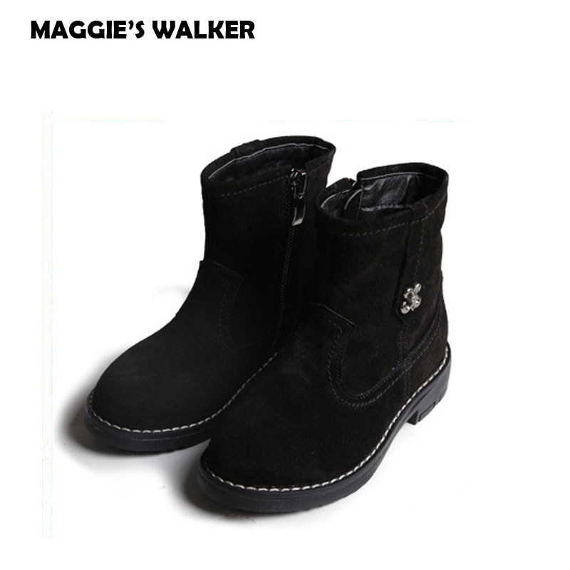 MAGGIE'S WALKER Kids Winter Boots Boys Girls Short Black Martin Boots Teenage Genuine Leather Anti-Slip Boots Chaussures Enfant 2016 new fashion children martin boots girls boys winter shoes kids rain boots pu leather kids sneakers waterproof anti skid