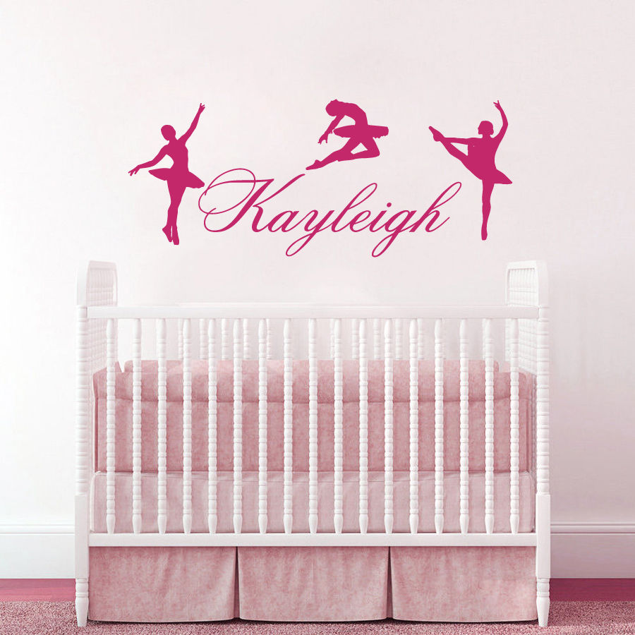 Ballerina Wall Decal Girls Name Sticker Ballet Nursery Dance Bedroom Decor China Mainland