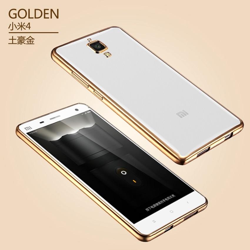 Ультра Тонкий Золотое Покрытие Crystal Clear Case Для Xiaomi Redmi 2 3 3 s 3 Pro Примечание 3 4 pro mi5 Роскошные Прозрачный Мягкий ТПУ Case