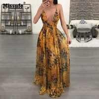 Missufe шифоновое макси-платье с глубоким v-образным вырезом, Женское Платье-туника с принтом, платье с открытой спиной, винтажные летние пляжны...