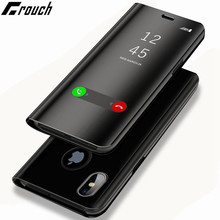 New Luxury Mirror Flip Case For Iphone X Clear View Clear Flip For Iphone 6 6s 7 8 Plus  Hard Phone Cover Smart Case