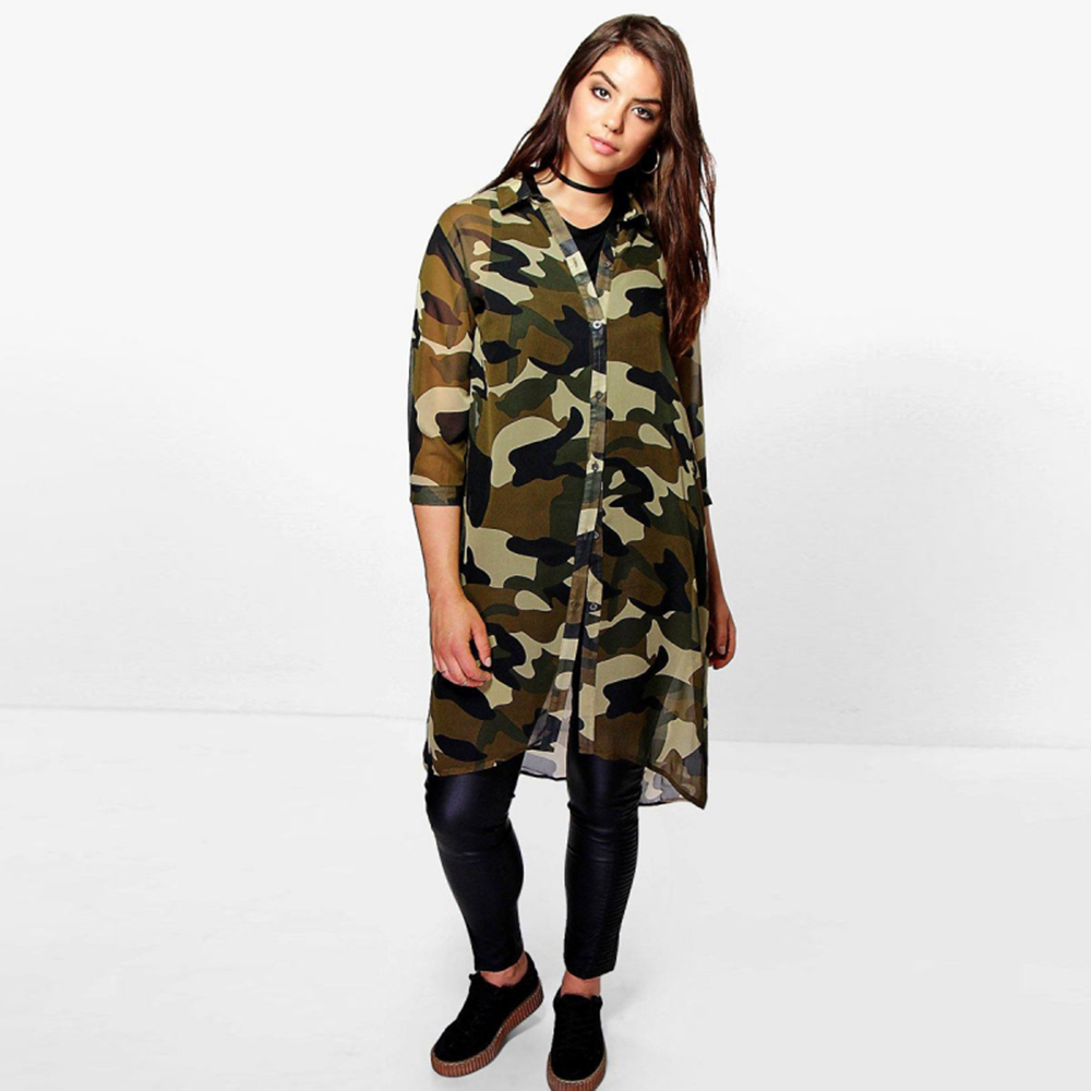 US $20.32 |DOMODA Plus Size Fashion Women Clothing Basic Streetwear  Camouflage Dress Three Quarter Sleeve Big Size Dress 3XL 4XL 5XL 6XL-in  Dresses ...