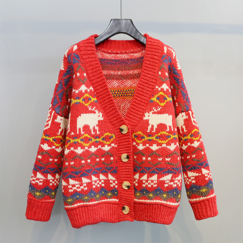 2018 new spring winter Christmas red sweater women cartoon knitted thicken cardigan jacket loose knit jackets coats