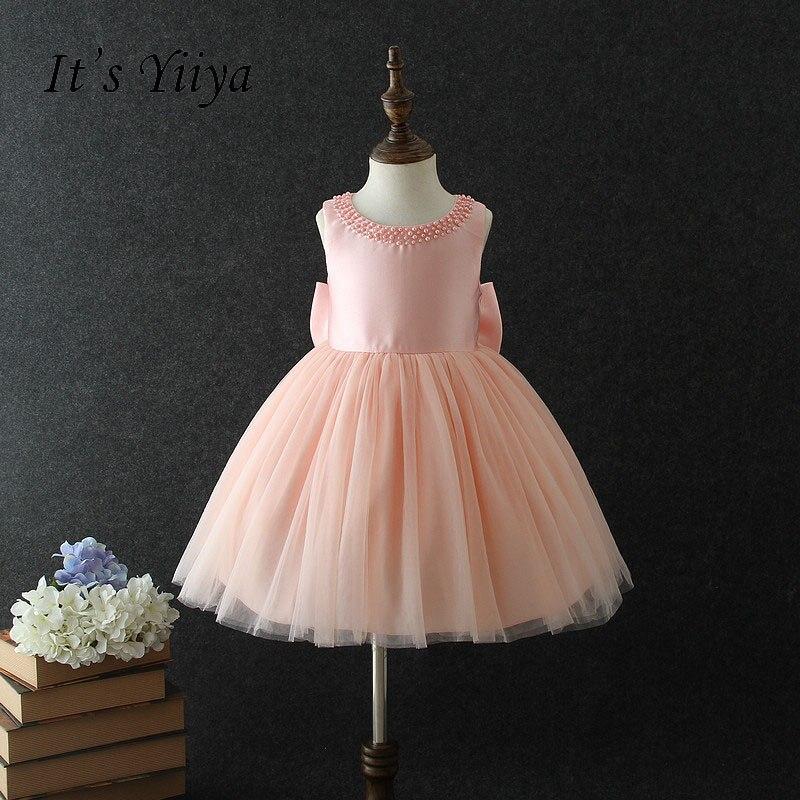 It's yiiya Bow Zipper   Flower     Girl     Dresses   Beading O-neck   Girls   Kid Child Cloth Ball Gown   Dress   For Party Wedding   Girl     Dress   S270