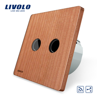 Natural Health Style Touch Remote Switch 2 Gangs 2 Way AC 220 250V Cherry Wood Panel
