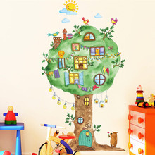Hand painted color cartoon wall stickers Animal tree house birds clouds decorated for kids room diy bedroom decal