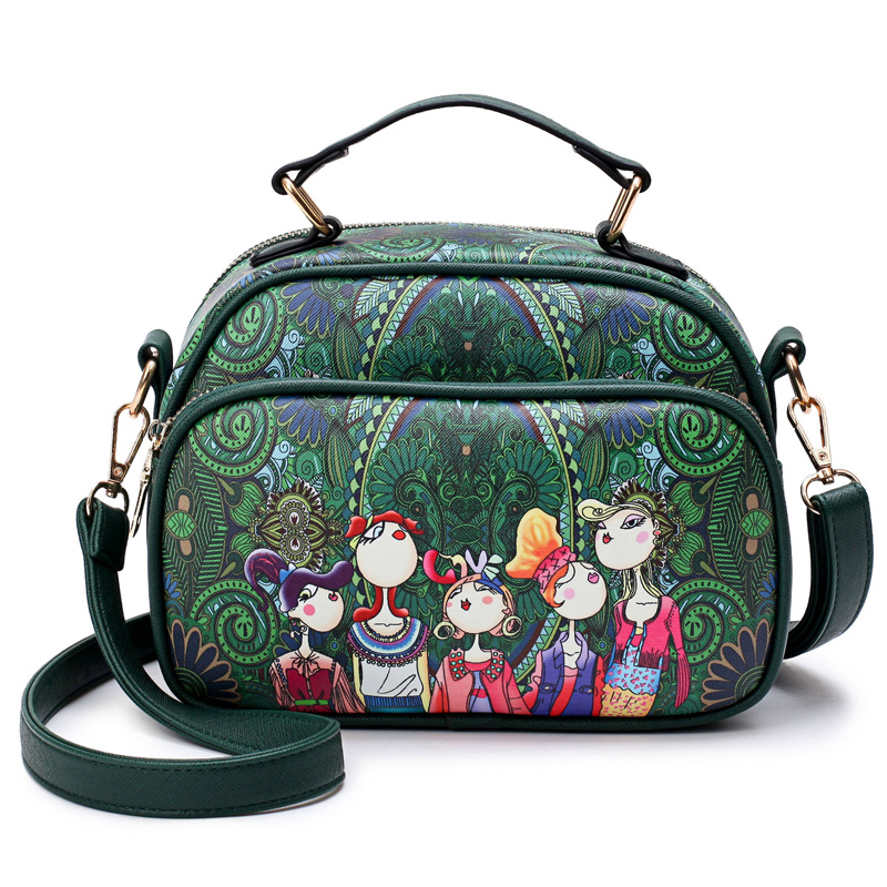 luxury handbags women bags designer Fashion Dark Green Forest Character Printing Horizontal Band With Retro Shoulder Bag