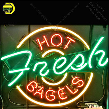 Neon light Signs for HOT Fresh BAGELS Neon Bulbs sign Real Glass Handcraft Beer Bar display neon Letrero Neons enseigne lumine