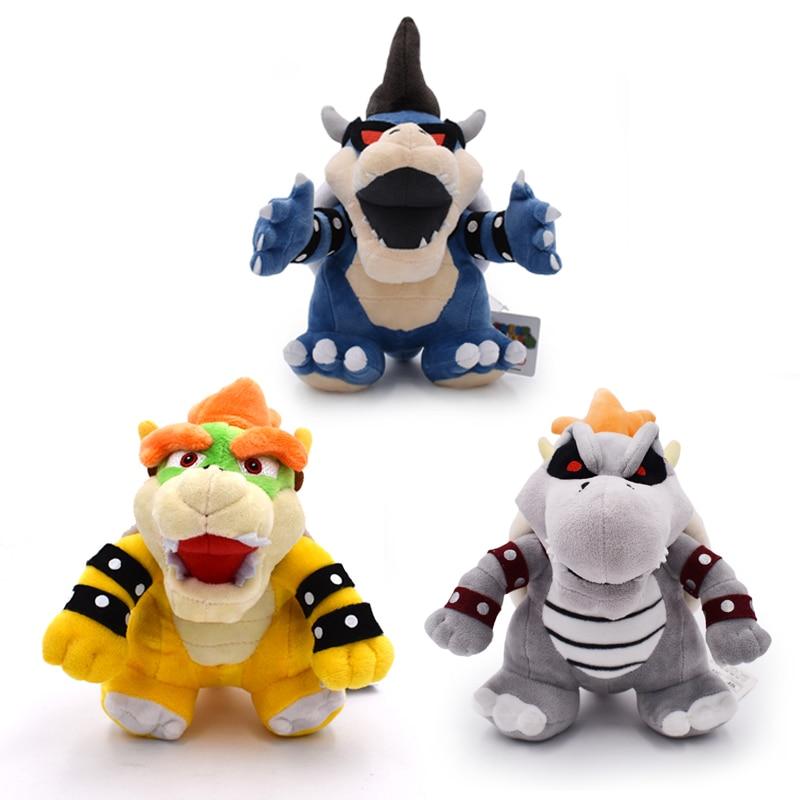 3Styles 25-28cm Super Mario Bros Kuba Bowser Kuba Gragon Dry Bone Dark Bowser Plush Toy Soft Stuffed Dolls Free Shipping