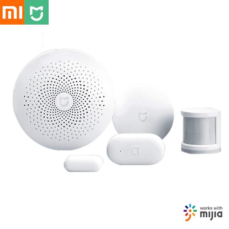 Xiaomi Mijia Kit Casa Inteligente Gateway Corpo Humano Interruptor do Sensor Da Porta Janela Sem Fio Mini Tomada Zigbee Sensor De Temperatura E Umidade