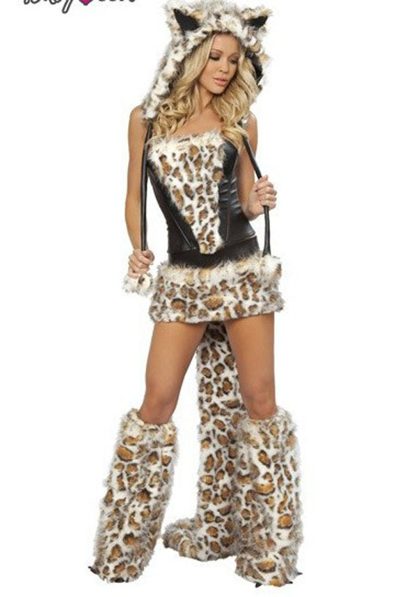 Mujeres Sexy Leopard Animal Themed disfraces Cosplay adultos lobo